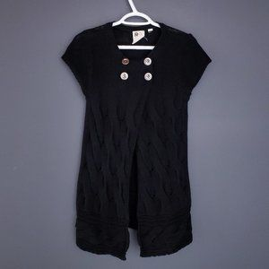 ROXY Cardigan Short Sleeve Cable Knit Buttons Long
